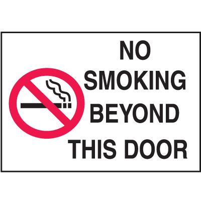 Graphic No Smoking Signs - No Smoking Beyond This Door