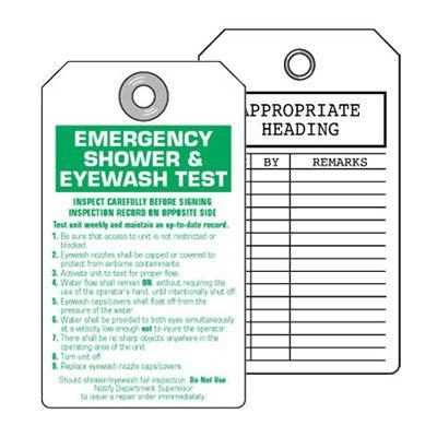 Emergency Shower & Eyewash Test  Inspection Tag