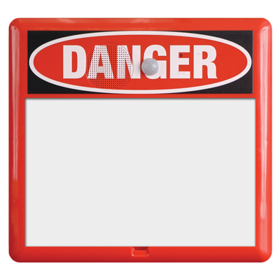 Talking Interactive Sign - Red Frame with Danger Header