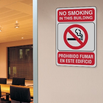 No Smoking in This Building - 10W x 7H Bilingual Signs