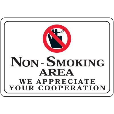 Non-Smoking Area - 10W x 7H Decor Signs