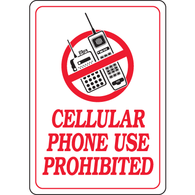 Interior Decor Security Signs - Cellular Phone Use Is Prohibited
