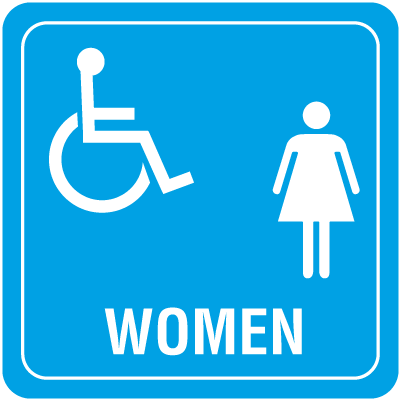 Handicap Accessible Womens Restroom Interior Signs
