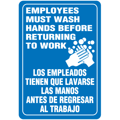 Employees Must Wash Hands Interior Bilingual Signs