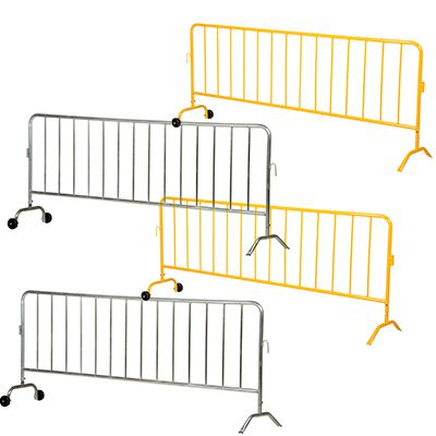 Interlocking Crowd Control Barriers With 1 Wheel & 1 Curved Foot