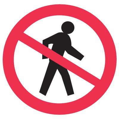 International Symbols Labels - No Pedestrians