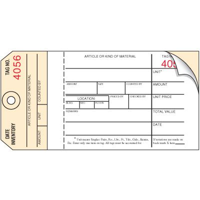 Inventory Control Tags - 2 Part