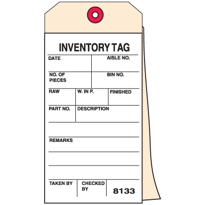 2 Part Carbonless Inventory Tag Inventory Tag Seton