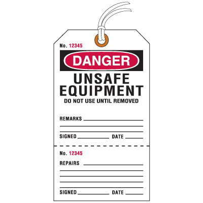 Jumbo Cardstock Tear-Off Safety Tags - Danger Unsafe Equipment