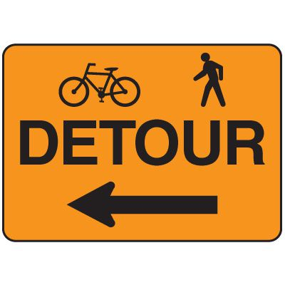 Jumbo Construction Signs - Detour (w/Graphic & Arrow Left)