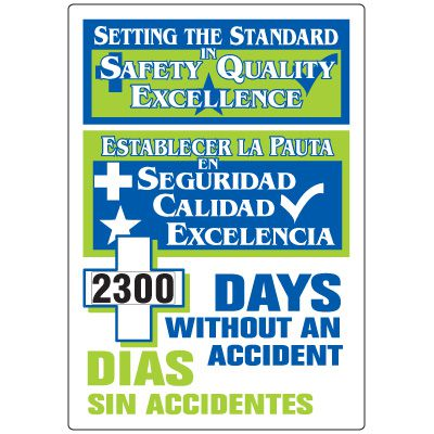 Jumbo Dial-A-Day Safety Scoreboard - Worked Without Accident Bilingual