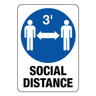 Keep 3 Feet Apart Social Distancing Sign