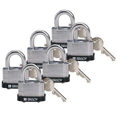 Brady Key Retaining Keyed Different Three Quarter inch Shackle Steel Locks - Black - Part Number - 118940 - 6/Pack