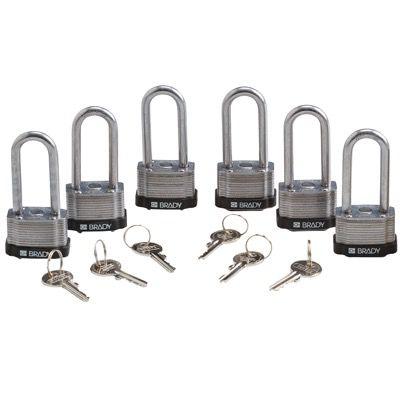 Brady Key Retaining Keyed Alike 2 inch Shackle Steel Locks - Black - Part Number - 118972 - 6/Pack