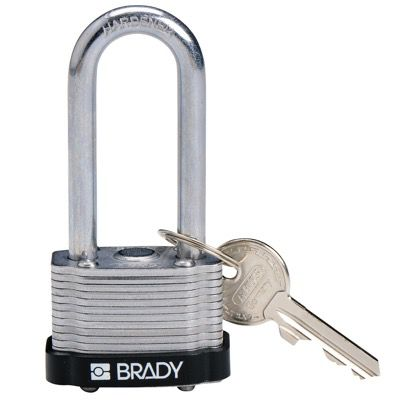 Brady Key Retaining Keyed Different 2 inch Shackle Steel Locks - Black - Part Number - 143138 - 1/Each