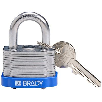 Brady Key Retaining Keyed Different Three Quarter inch Shackle Steel Locks - Blue - Part Number - 143130 - 1/Each