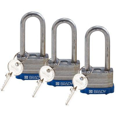 Brady Key Retaining Keyed Alike 2 inch Shackle Steel Locks - Blue - Part Number - 118973 - 3/Pack