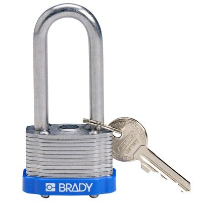 Brady Key Retaining Keyed Different 2 inch Shackle Steel Locks - Blue - Part Number - 143140 - 1/Each