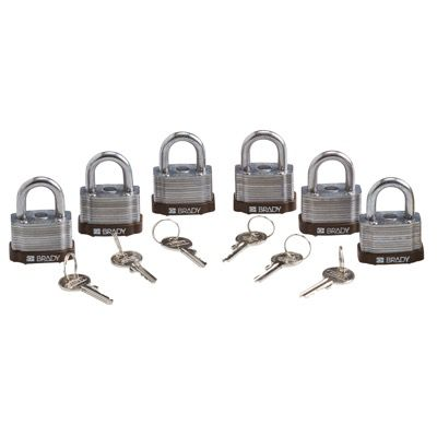 Brady Key Retaining Keyed Different Three Quarter inch Shackle Steel Locks - Brown - Part Number - 123280 - 6/Pack