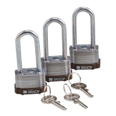 Brady Key Retaining Keyed Alike 2 inch Shackle Steel Locks - Brown - Part Number - 123276 - 3/Pack