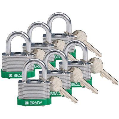 Brady Key Retaining Keyed Different Three Quarter inch Shackle Steel Locks - Green - Part Number - 118936 - 6/Pack