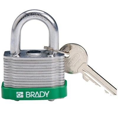 Brady Key Retaining Keyed Different Three Quarter inch Shackle Steel Locks - Green - Part Number - 143128 - 1/Each