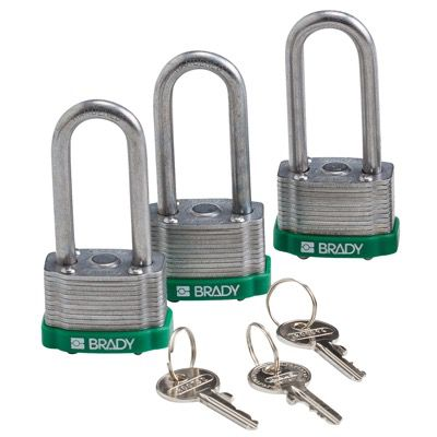 Brady Key Retaining Keyed Alike 2 inch Shackle Steel Locks - Green - Part Number - 118975 - 3/Pack