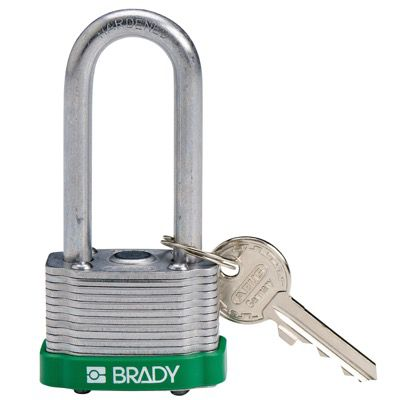Brady Key Retaining Keyed Different 2 inch Shackle Steel Locks - Green - Part Number - 143142 - 1/Each
