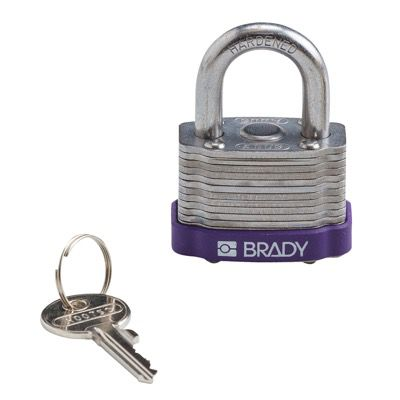 Brady Key Retaining Keyed Different Three Quarter inch Shackle Steel Locks - Purple - Part Number - 123273 - 1/Each