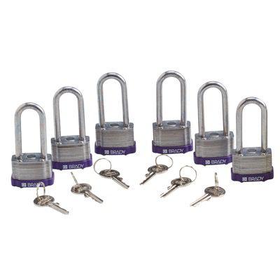 Brady Key Retaining Keyed Alike 2 inch Shackle Steel Locks - Purple - Part Number - 123279 - 6/Pack