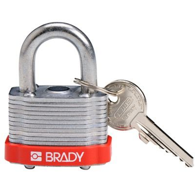 Brady Key Retaining Keyed Different Three Quarter inch Shackle Steel Locks - Red - Part Number - 143126 - 1/Each