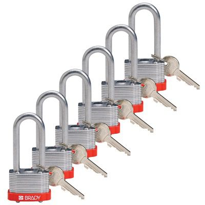Brady Key Retaining Keyed Different 2 inch Shackle Steel Locks - Red - Part Number - 118944 - 6/Pack