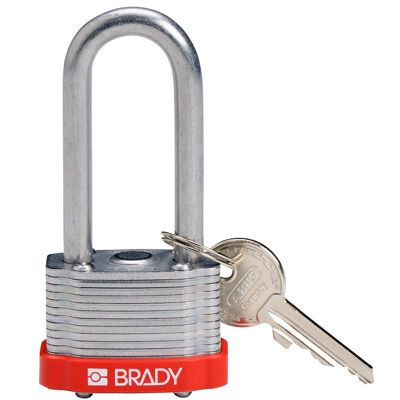 Brady Key Retaining Keyed Different 2 inch Shackle Steel Locks - Red - Part Number - 143144 - 1/Each