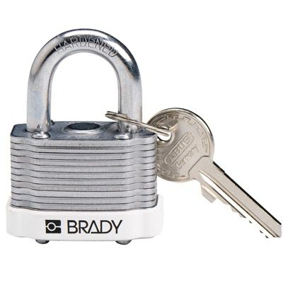Brady Key Retaining Keyed Different Three Quarter inch Shackle Steel Locks - White - Part Number - 143134 - 1/Each