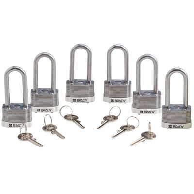 Brady Key Retaining Keyed Different 2 inch Shackle Steel Locks - White - Part Number - 118945 - 6/Pack