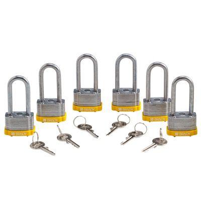 Brady Key Retaining Keyed Alike 2 inch Shackle Steel Locks - Yellow - Part Number - 118982 - 6/Pack