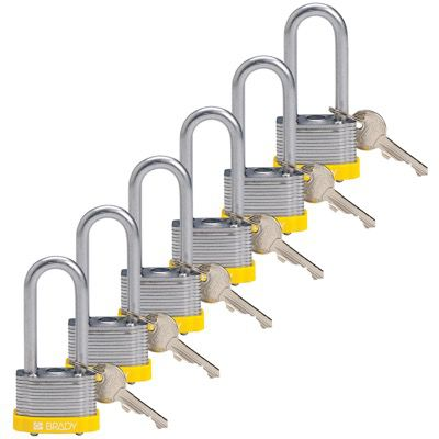 Brady Key Retaining Keyed Different 2 inch Shackle Steel Locks - Yellow - Part Number - 118946 - 6/Pack