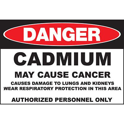 Danger Cadmium May Cause Cancer Sign