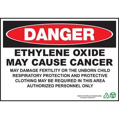 Danger Ethylene Oxide Cause Cancer Sign