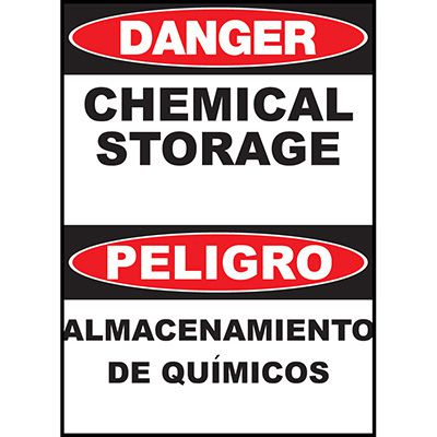 Danger Chemical Storage Sign - Bilingual