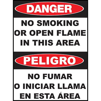 Danger No Smoking Area Sign - Bilingual