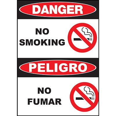 Danger No Smoking Sign - Bilingual