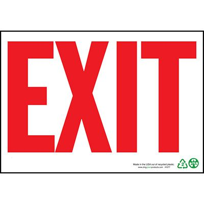 Eco Safety Exit Sign, Red on White