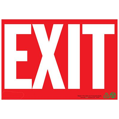 Eco Safety Exit Sign, White on Red