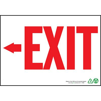 Exit Sign Left Arrow, Red on White