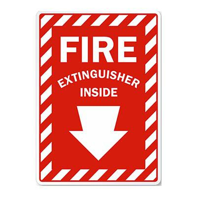 Fire Extinguisher Inside with Arrow Sign