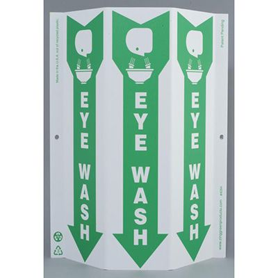 Eye Wash with Arrow Tri View Sign