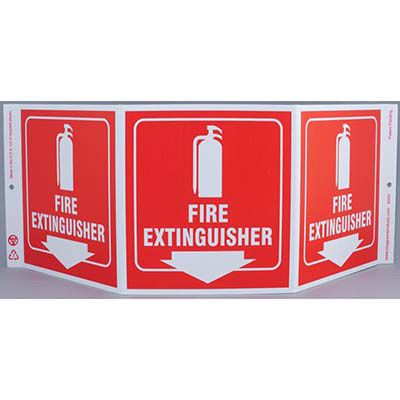 Fire Extinguisher Tri View Sign