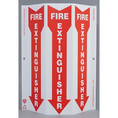 Fire Extinguisher with Arrow Tri View Sign