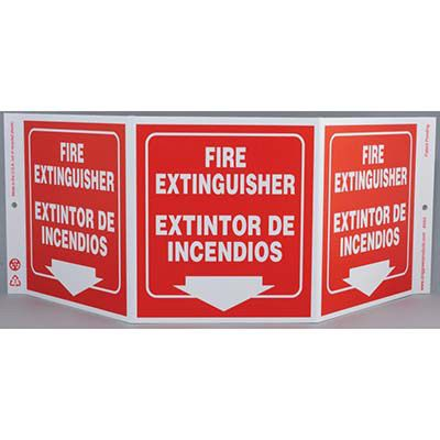 Fire Extintinguisher Tri View Sign - Bilingual